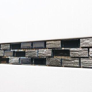 Bordüren Glasmosaik Mit Marmor Schwarz Silber 4x30cm MOSAKO Fliesen ...