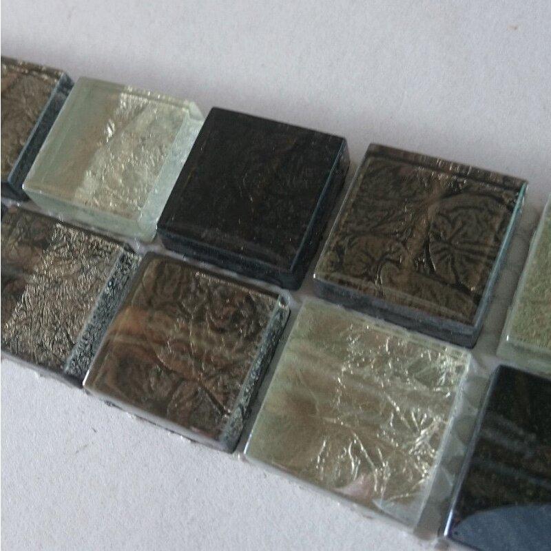 4,8x30cm MOSAKO 23x23x8mm Glas Metalloptik silber grau mix perlmutt Bordüren