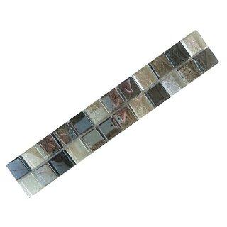 Bordüren 4,8x30cm MOSAKO Glas Metalloptik silber grau mix perlmutt 23x23x8mm