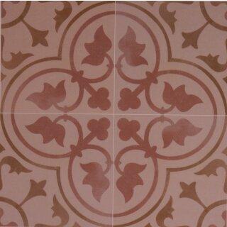 Zementoptik Bodenfliesen Dekor Corot Creme Rosa Mix Glasiert 1krt 1