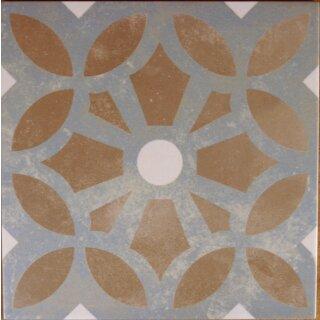 Zementoptik Bodenfliesen Dekor Cezzane Hellblau Braun Mix Ate 63 37