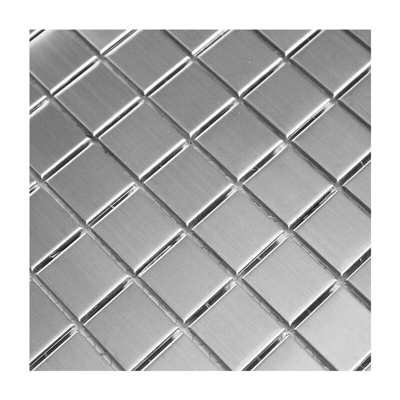 Edelstahl Mosaik Fliesen 23x48x8mm Silber Edelstahl Geburstet