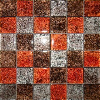 Glasmosaik / Metalloptik orange silber braun mix,...