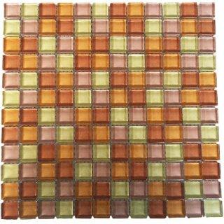 Glasmosaik blau mix 1qm = 11 Tafeln Mosako Mosaik aus Glas 2,3x2,3x0,8 cm