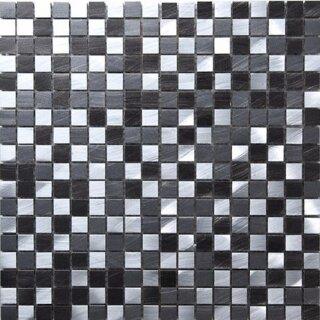 Aluminium Mosaik Schwarz/silber Mix, Reines Aluminium 1,5x1,5x,0 ...