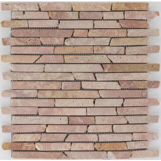 Marmor Brickmosaik red Travertino getrommelt,1,5 x mix x...