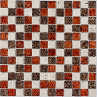 Glasmosaik orange braun mix mit Marmor creme, 2,3x2,3x0,8...