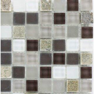 Glasmosaik grau weiß mix mit Naturstein Quarzit beige bunt, 1,5