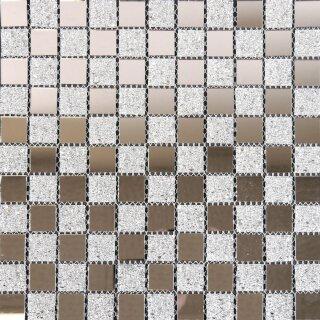 5,3x30x0,4cm Mosako Bord/üren Glasmosaik Spiegel-Glas-Mix silber glitzernd ca