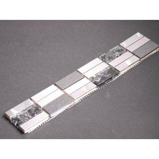 Bordüren Glas Metalloptik silber schwarz mix 1,5x4,8x0,8cm 5x30cm Mosako