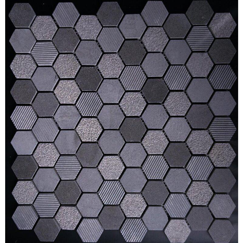 mosaikfliesen naturstein sechseck hexagon notte anthrazit 1295 eur - Mosaik Fliesen
