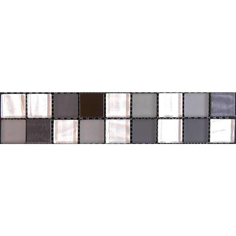 Bordure Glasmosaik Mit Metall Anthrazit Weiss Mix